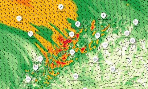 Slik ser Yr.nos vindkart ut for onsdag klokken 09:00. De mørkegrønne feltene indikerer liten kuling, de gule stiv kuling, de oransje sterk kuling, og de røde liten storm.