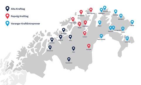 25 NYE STASJONER: Her ser vi kart over områdeutbygging av hurtigladere i Troms og Finnmark.