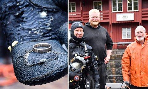 FANT GIFTETRING: F.v.: Dykker Arild Bentsen, dykkerleder Henning Hodnemyr og dykker Kjetil Pedersen.