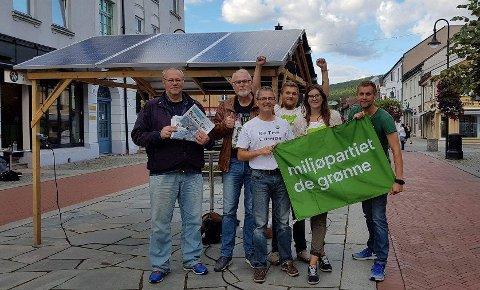 STAND: Miljøpartiet De Grønne i gågata fredag ettermiddag.