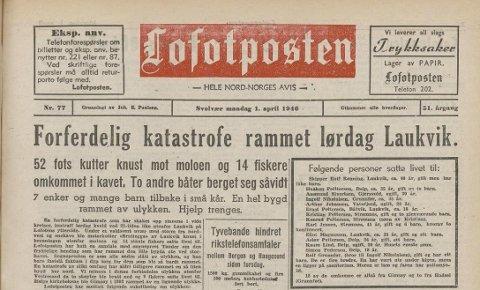 Omtale: Ulykka fikk bred omtale i Lofotposten dagene etterpå.