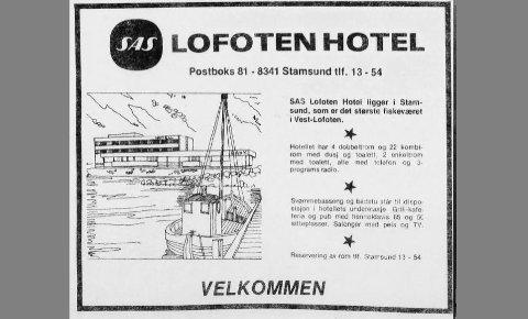 Slik annonserte SAS Lofoten Hotel for seg selv i Lofotposten i forbindelse med åpningen i juni 1975.