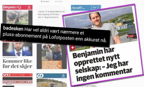 Humor: Intagram-kontoen BAdesKen har flere ganger gjengitt artikler fra Lofotposten. sS utfyllende bildeserie nederst i saken.
