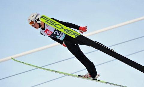 I GODT SLAG: Leonard Taubert ble nummer to i norgescupen i hopp søndag. I tillegg bidro han til en flott fjerdeplass i lag-NM.
