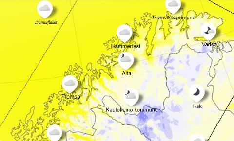 Værkartet over Tromsø holder en helt annen farge enn det normalt gjør i november måned. Skjemdump: yr.no
