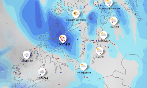 NYT VINTERVÆRET: Mandag er det fortsatt ventet minusgrader i Tromsø, men prognosene sier vi går en våt uke i vente. Skjermdump: yr.no