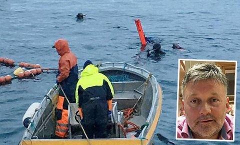 BEKYMRET:  Reder og skipper Einar Helge Meløysund, på fartøyet «Meløysund Jr.» mener regelverket for hvalturismen må skjerpes. Dykkerne på dette bildet var ikke i en farlig situasjon.