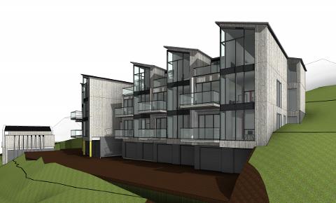 KLART I JANUAR 2020: Den første lavblokken med ti leiligheter vil kunne stå ferdig i januar 2020, tror utbyggerne.