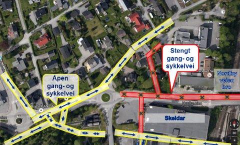 STENGES: Nordbyveien med fortau samt gang- ogsykkelveiene ved Skeidar og mellom Holteveien og Nordbyveien.