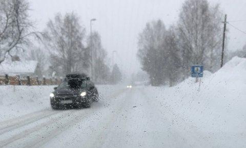 SNØ OG VIND: Søndag skal det komme en del snø på Østlandet. Med vind i tillegg kan det bli vanskelige forhold på vegene.