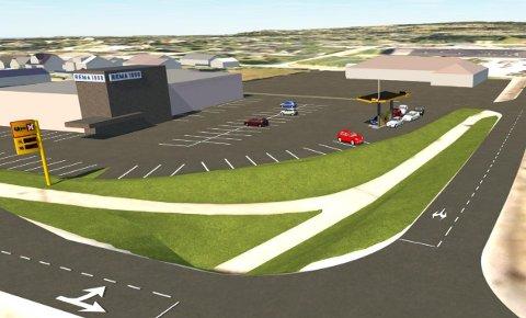 PÅ HANSTAD: Uno-X vil åpne sin andre automatstasjon i Elverum. Illustrasjon: HD Plan og Arkitektur AS