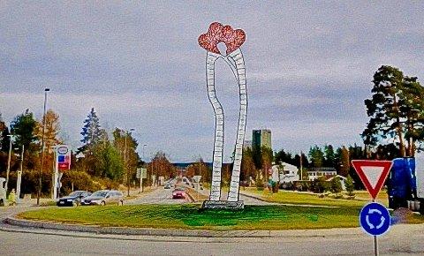 OVER NI METER HØY: Omtrent sånn blir Geir S. Hjetlands over ni meter høye skulptur i rundkjøringen ved Basthjørnet når den står ferdig høsten 2022.