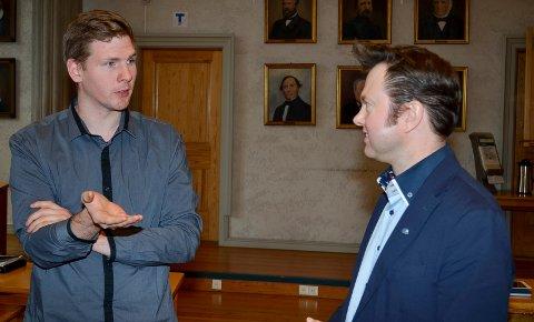 ENIGE: Magnus Stenseth (Ap), til venstre, og Yngve Sætre (H) er enige om at tilsvingen er viktig, ikke bare for Elverum, men for hele Østerdalen.