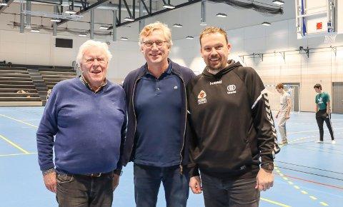 HADDE PLANER: Jørgen Young og Urædd hadde friidretten med i planene. Her omkranset av Jan Løkslid og Kristian Raflund i Porsgrunn Arena.