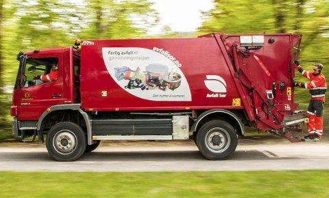 RØDE: De nye søppelbilene fra Reno Norden er røde. De blir å se i by og bygd på Nord-Helgeland fra 1. juli. Pressefoto
