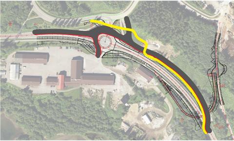 Tirsdag 12. februar legges vegen om forbi Mjølankrysset. Interimsvegen er markert i grått i dette kartet. Den gule stripa er gang- og sykkelveg.