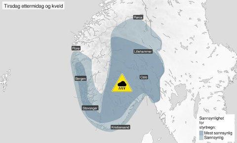 Værvarsel: Det varsles mye regn på Sør- og Østlandet de enste timene.