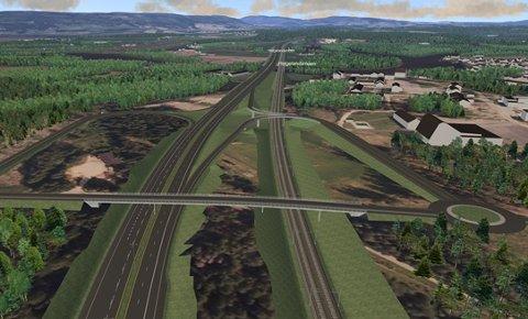 Ringeriksbanen skal planlegges som felles prosjekt for vei og bane. Illustrasjon: Statens vegvesen/Jernbaneverket