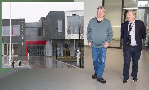 PÅ RUNDTUR: Rektor Roy Korslien og ordfører Kjell B. Hansen synes den nye skolen er blitt flott og gleder seg til at den skal tas i bruk på nyåret.