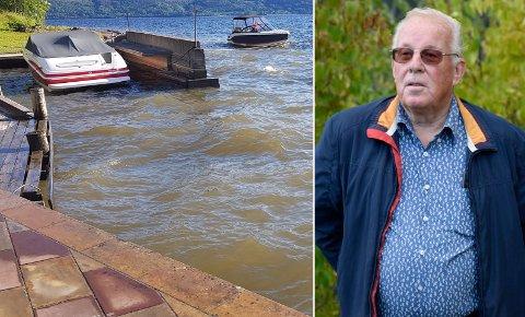 BRUNT VANN: Slik så vannet i Tyrifjorden ut etter lekkasjen. - Det er ikke lov å forurense drikkevannet til noen, påpeker Terje B. Lien.