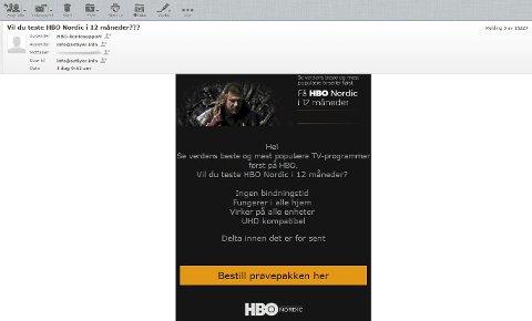 FRISTENDE, MEN DUMT:  Et prøvetilbud på HBO Nordic i et år uten binding direkte inn på din mail!