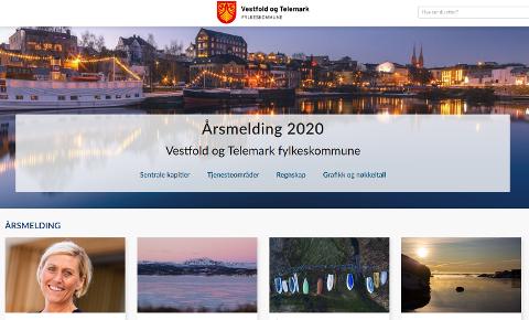 FØRSTE: Slik ser den ut, åpningssida på den første årsmeldingen til det nye fylket Vestfold og Telemark fylkeskommune.