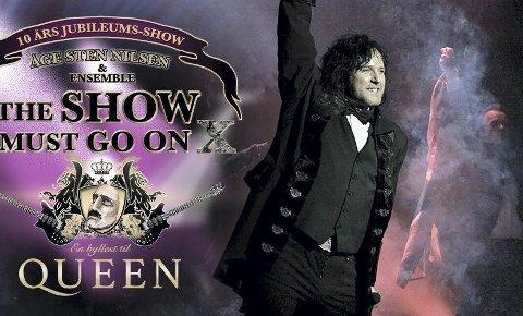 Få billetter igjen: Etter 10 år med hyllestshowet til den britiske supergruppa Queen blir det nå satt et endelig punktum med en helaftens jubileumsforestilling med Åge Sten Nilsen i spissen.