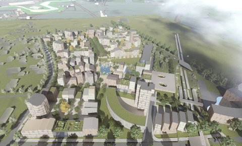 NY BYDEL: Kan Cao ser for seg en ny bydel med 1.500 leiligheter på Lundsjordet på Råholt. (Illustrasjon: Niels Torp/NGH)