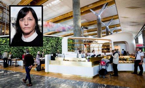 RINGVIRKNINGER: Driftsdirektør Sølvi Næss i SSP, som driver mange serveringssteder på Oslo Lufthavn, bekrefter at de nå permitterer ansatte.