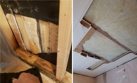 LEKKASJE: Det ble oppdaget lekkasje fra taket. Det ble funnet fukt i tak og vegger.