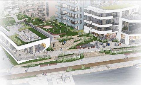 REDUSERT VOLUM: Siste versjon av Carlsenkvartalet har færre leiligheter, lavere bygninger, kontorer og større områder som er ment for allmennheten. (Illustrsjon: Spir Arkitekter)