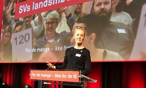 FIKK VEDTAK: Charlotte Jahren Øverbye fra Sandefjord holdt innlegg, og fikk gjennomslag, på SVs landsmøte sist helg.