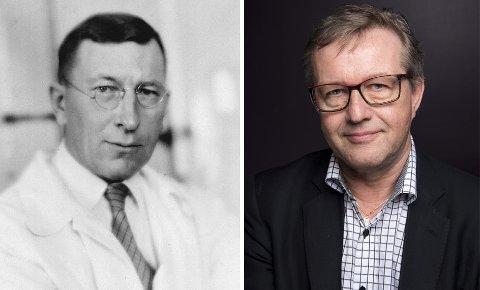 Frederick Banting (t.v.) var viktig i oppdagelsen av insulin. Professor Trond Geir Jenssen mottar årets forskningspris på Verdens diabetesdag, som markeres 14. november fordi det var Bantings fødselsdag. (Foto: Arthur Goss, public domain/Wikipedia og Diabetesforbundet)