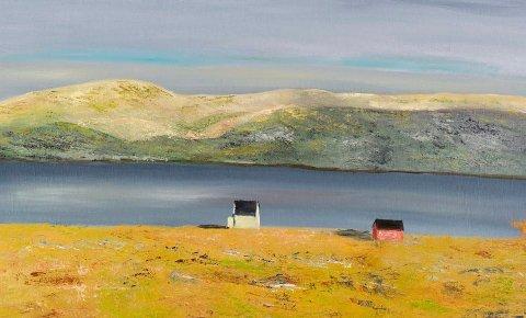 Midnattsol: Dette bildet er et av rundt 100 som Tom Paulsen har malt med olje.