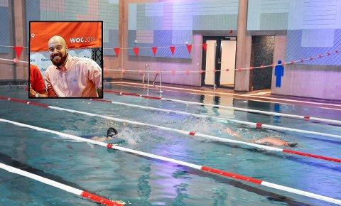 BEDRE ENN LANDSNITTET: Elever fra Mysen skole får god svømmeopplæring, sier gymlærer, Eivind André Tornes