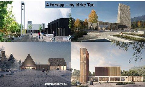 Ei samanstilling av dei fire forslaga til korleis den nye kyrkja på Tau skal sjå ut.