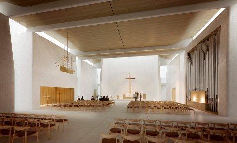 INNSIDEN: Slik vil den nye kirken bli på innsiden. Juryen mener blant annet at lyset kommer inn på en vakker måte.