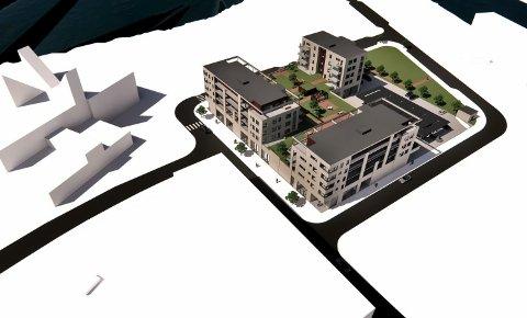 NY: Den nye bydelen - sett fra øst, mot Tinnåa/Heddalsvannet.. Bok og Blueshuset ligger her til venstre i bildet. I høst skal to av gatene her få navn. (Alle tegninger: Arkitektkontoret ArkNet i Kristiansand).