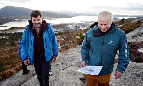 Gunnar Grimstad og Geirr Vetti var på befaring på Kvernberget sist uke.