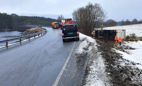 Dyretransporten har kjørt av veien på E39 i Valsøyfjord.