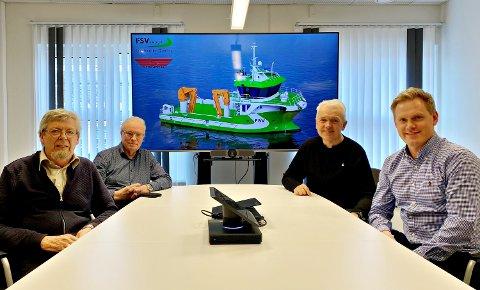 Kontraktsignering FSV Group og Sletta Verft. Fra venstre: Kåre Sletta (daglig leder Sletta Verft), Lars Liabø (styreformann Sletta Verft), Per Olav Myrstad (styreformann FSV Group) og Arild Aasmyr (CEO i FSV Group),