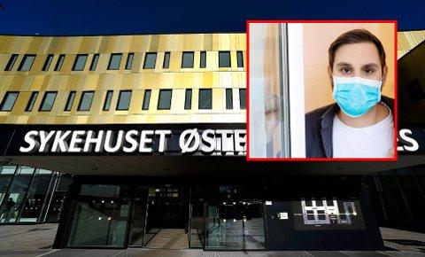 MUNNBIND: Nå må alle som har vært på reise også i grønne land bruke munnbind på Sykehuset Østfold.