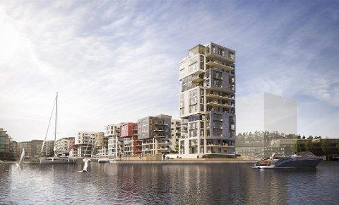 43 METER HØYT: Det blir bare én leilighet i hver av de tre øverste etasjene i det 13 etasjer høye leilighetsbygget, Signaturen, som nå bygges på Kaldnes.