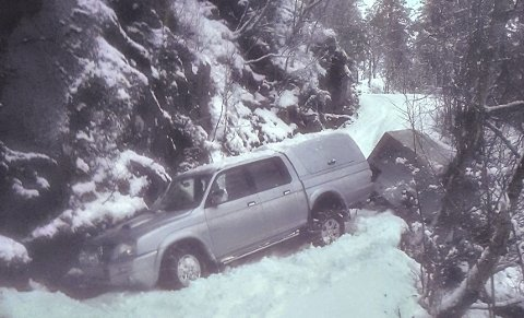 Englevakt: Hengeren var på vei utfor da den ble stanset av et bjørketre.Foto: Iver Innerdal