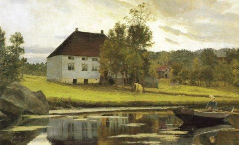 NASJONALROMANTIKK: Bildet «Efter solnedgang» ble malt av Kielland i 1885/86 i Bossvika, og markerer overgangen til nasjonalromantikken i norsk malerkunst. (ILL.: Wikipedia)
