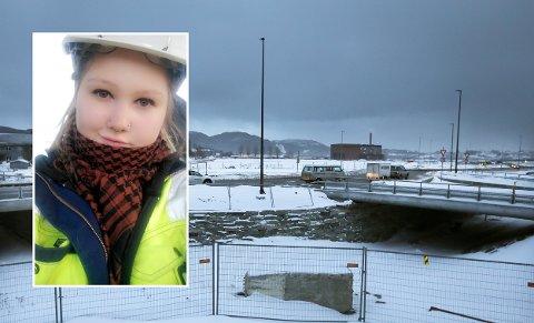 Isa Kristine Arvidsdatter Jensen (innfelt) jobbet blant annet med Thallekrysset for M3 Anlegg før entreprenøren gikk konkurs.