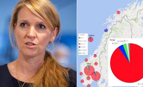 Avdelingsdirektør Line Vold i Folkehelseinstituttet og kartet fra FHIs siste ukesrapport.