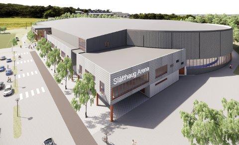 Slåtthaug Arena kan bli en ny storstue for idretten i Bergen, og skal etter planen ta inn nærmere 300 idrettselever.  Skisse: BACKE IDRETT