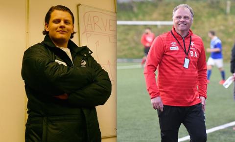 Spillende trener på Randaberg C, Arve Junior Sem-Henriksen (t.v.) og Mastra-trener Bjarne Aske.