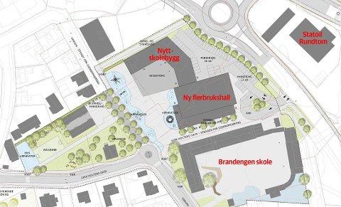 NYE RUNDTOM: Planene for skoleområdet ved Brandengen skole slik de ble pressentert i 2015.